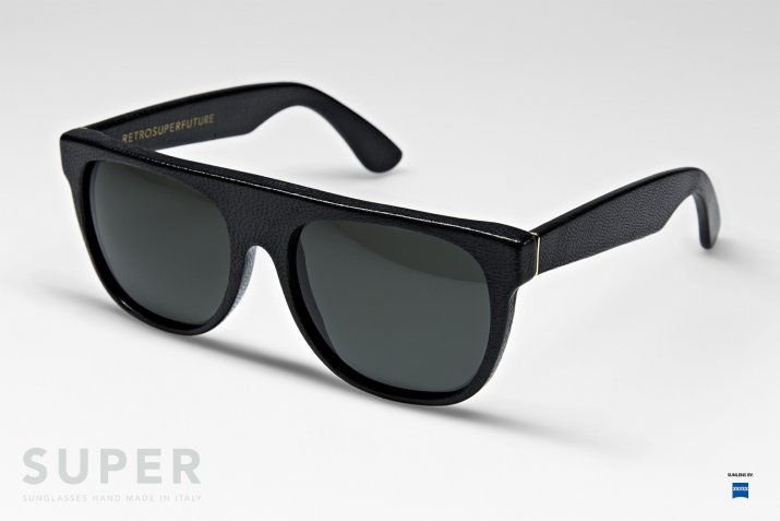 Super Flat Top Sunglasses Black Leather Super Leather Flat Top