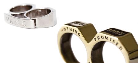 Vane 2 Finger Brass Knuckle Ring