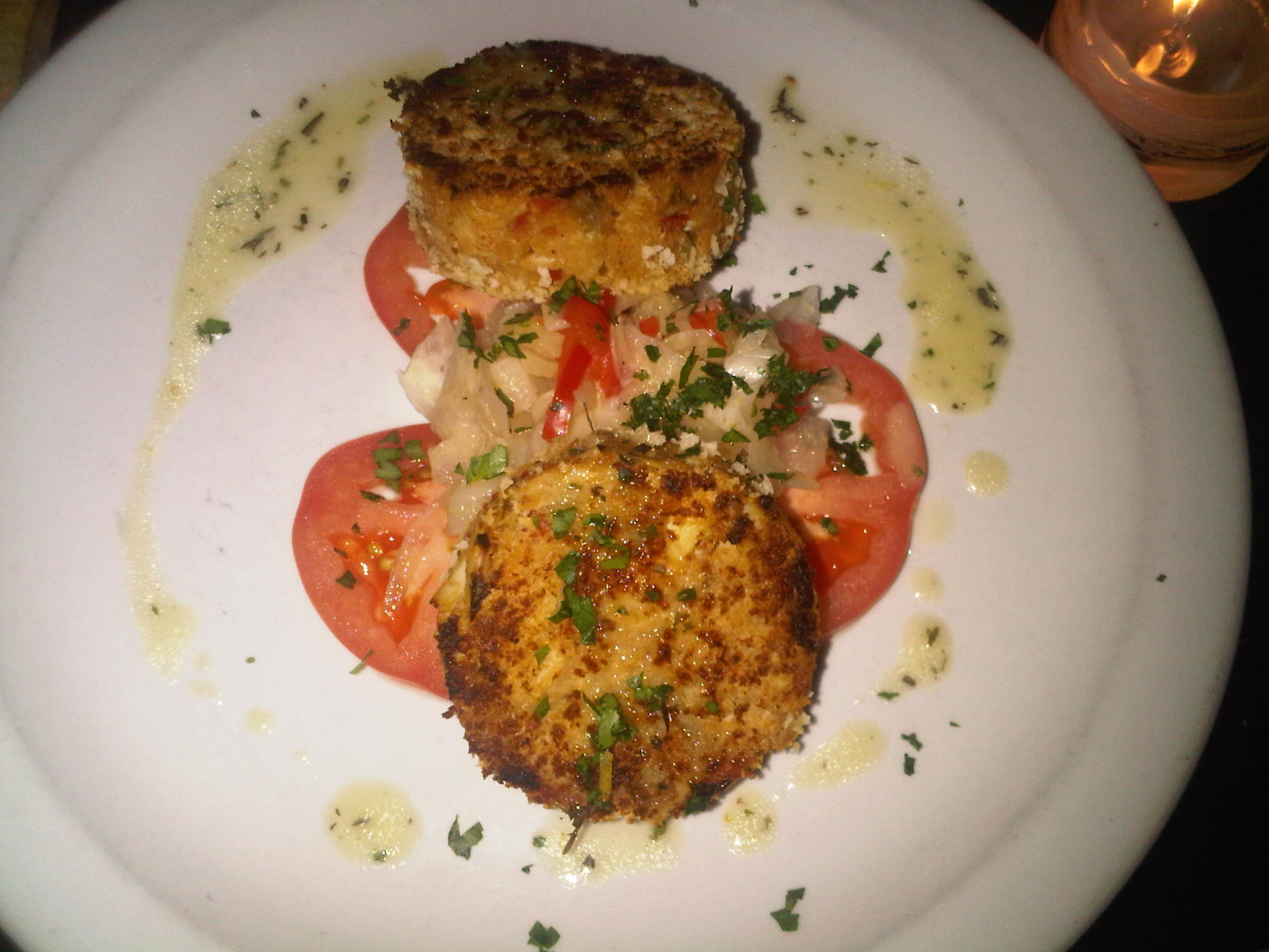 Rothchilds Restaurant Crab Cakes With Fennel And Tomato Salad