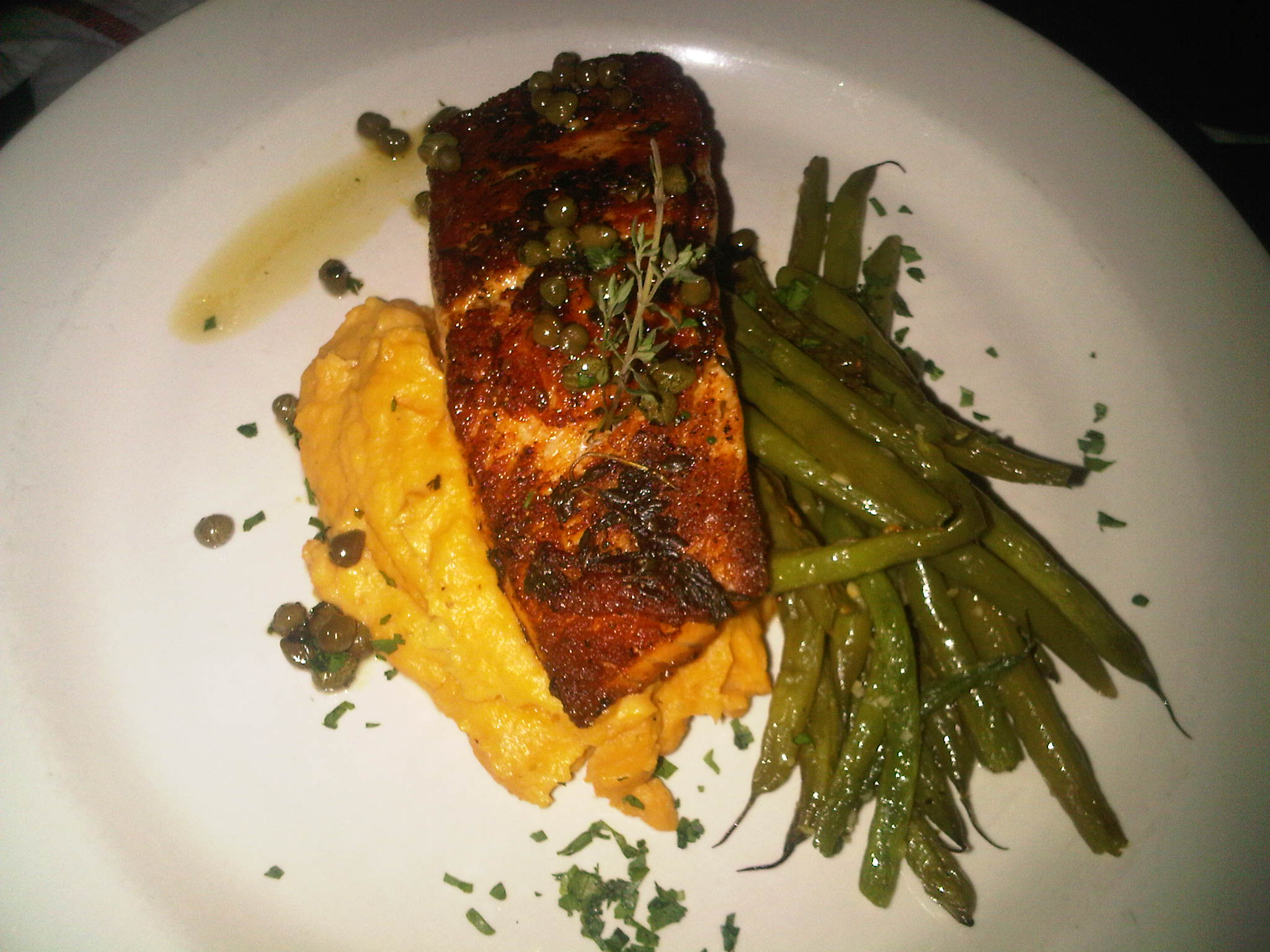 Rothchilds Restaurant Salmon With String Peas And Sweet Potato Mash