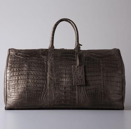Santiago Gonzalez Zip-Top Crocodile Duffel Bag Gray