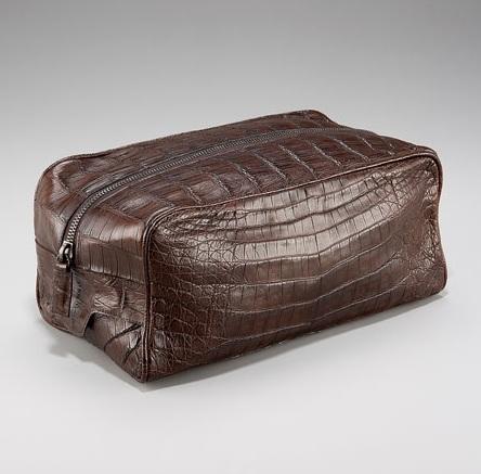 Santiago Gonzalez Zip-Top Crocodile Toiletry Bag Brown